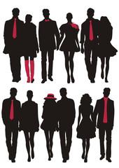 fashion silhouette of  couple