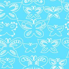 Butterflies on blue sky seamless pattern, vector
