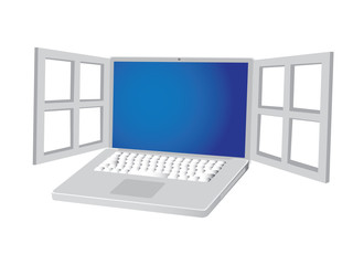 Metalic laptop with open window, illustration