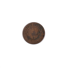 old coin on a white background