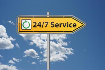 24 Stunden 7 Tage Rund um die Uhr Service