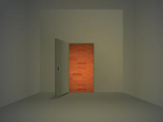 brick wall behind open door