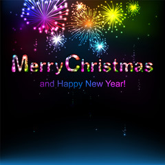 Merry Christmas. Salute- vector isolated on black background