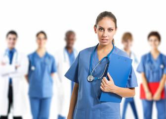Nurse in front of her team