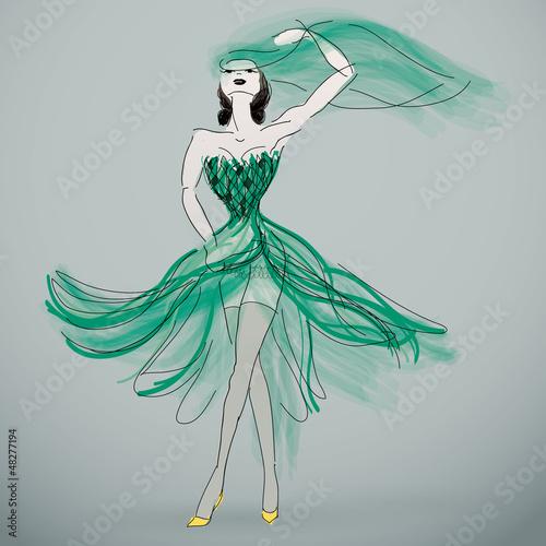 Woman in green wedding dress / Fashion sketch of bride\