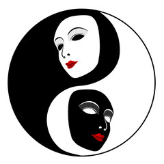 Masks. Ying yang symbol of harmony and balance