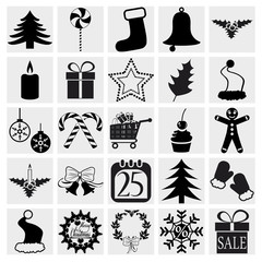 Christmas and Winter icons collection. Vector