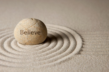 Photo sur Plexiglas Zen pierres a sable Believe stone