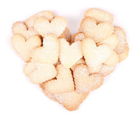 Heart shaped cookies on white background