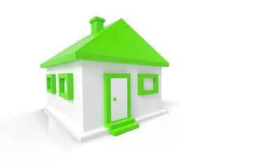 Das kleine grüne Haus vor weissem Hintergrund