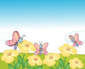 Keuken foto achterwand Vlinders Flying butterflies