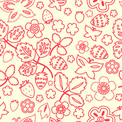 Strawberry outline seamless pattern, vector