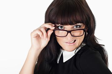 crazy beautiful woman wearing glasses