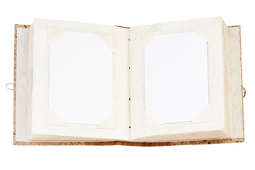 open old photo album with place for your photos isolated on whit