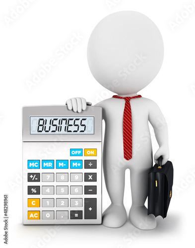 3d White People Business Calculator Stock Photo And