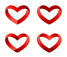 Heart icons set. INFINITE LOVE Looped Ribbon. Valentines. Vector
