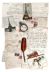 old letters, accessories and post cards