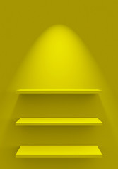 Drei Regale an Wand mit Beleuchtung - Gelb