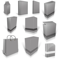 Ten grey blank boxes isolated on white