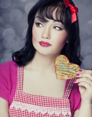 Brunette women with cookie