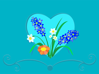 Flowers in a frame of heart