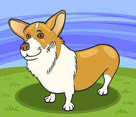 Poster Dogs pembroke welsh corgi dog cartoon illustration