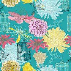 Deurstickers Vogels in kooien seamless floral pattern