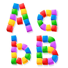 Alphabet of children's blocks. Vector illustration a b