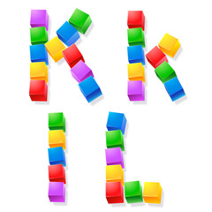 Alphabet of children's blocks. Vector illustration  k l