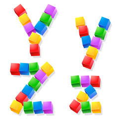 Alphabet of children's blocks. Vector illustration y z