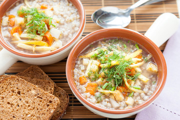 buckwheat soup with celery and parsnips