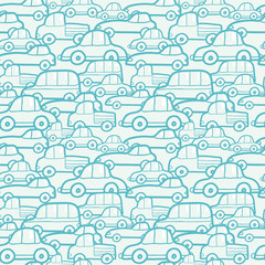 Vector doodle cars seamless pattern background with hand drawn