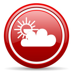 weather forecast red glossy icon on white background