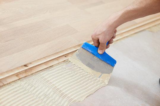 gluing parquet floor work
