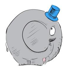 Cartoon elephant in top-hat