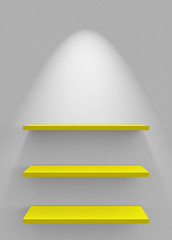 Drei Regale an Wand mit Beleuchtung - Weiß Gelb