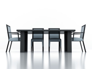 dining group with a table and chairs on a white background
