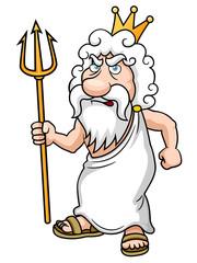 illustration of Cartoon Poseidon with Trident