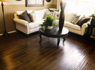 Obraz Hard wood flooring in living room area - fototapety do salonu