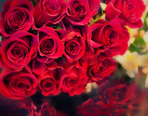 Big bunch bouquet of red roses