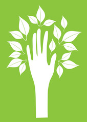 vector hand with leaves