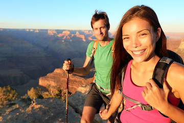 Couple hikers in Grand Canyon