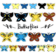 Colorful butterflies design elements set, vector