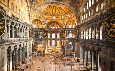 Deurstickers Turkije Hagia Sophia Columns and Chandeliers Istanbul Turkey