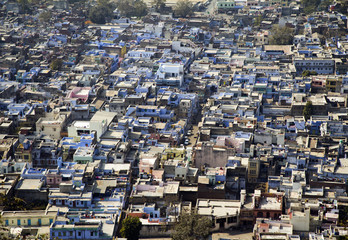 aerial view of Bundi, blue city of India