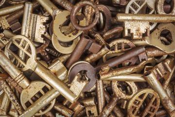 Assortment of different antique keys
