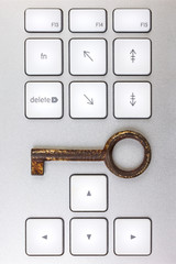 Computer keyboard with antique key