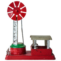 Vintage steel model of a farm windmill