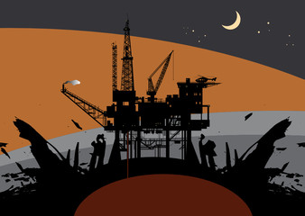 Oil rig in sea abstract, vector