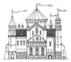 Cartoon hand drawing castle